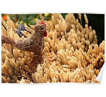 Straw chicken and wheat Poster