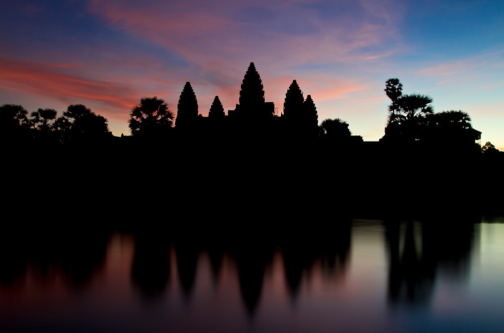 Angkor Wat temples at sunrise by tpfeller
