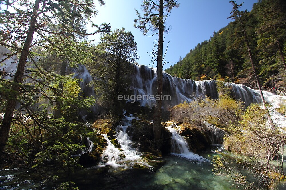 Front view of Jiuzhaigou waterfall by eugenesim