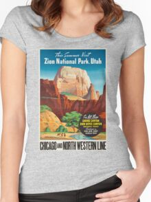 Vintage poster - Zion National Park Women's Fitted Scoop T-Shirt