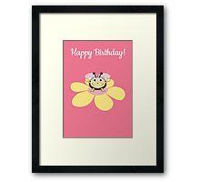 Happy Cartoon Bee on Flower Birthday Card Framed Print