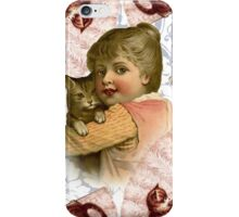 Vintage girl with kitten iPhone Case/Skin