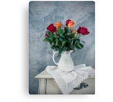 rose flowers in old-fashioned flower pot Canvas Print