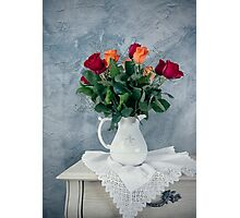 rose flowers in old-fashioned flower pot Photographic Print