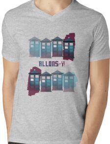 Allons~y!! Mens V-Neck T-Shirt