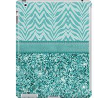 Glitzy Teal Zebra Pattern iPad Case/Skin