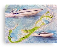 Sonic Racing Boat Bermuda Islands Nautical Map Cathy Peek Canvas Print