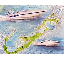 Sonic Racing Boat Bermuda Islands Nautical Map Cathy Peek Photographic Print