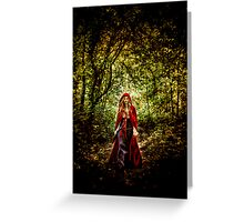 Red Cloaked Woman Greeting Card