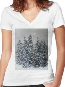 Winter Scene  Women's Fitted V-Neck T-Shirt