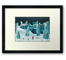 The wanderer and the ice forest Framed Print