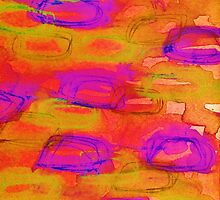 NOT YET, NIGHT - Bright Bold Colorful Abstract Watercolor Mixed Media Painting Warm Dusk Tones by EbiEmporium