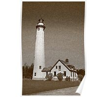 Lighthouse with Sponge Painting Effect Poster