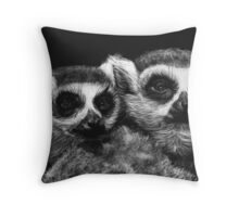 Ringtail Lemurs Throw Pillow
