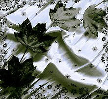 Newly Fallen Leaves -Black and White by SRowe Art
