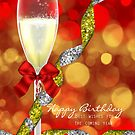 Champagne and Bokeh Birthday Greeting Card by Moonlake