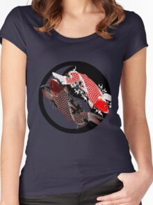 Koi Carp - Ying and Yang - Tattoo Style Women's Fitted Scoop T-Shirt