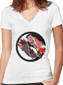 Koi Carp - Ying and Yang - Tattoo Style Women's Fitted V-Neck T-Shirt