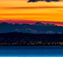 Sunset over Anacortes and the Olympic Mountains by Jim Stiles