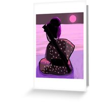 Lonely samurai and moonlight Greeting Card