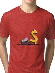 Office Workers Pulling Down Dollar  Tri-blend T-Shirt