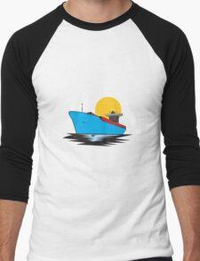 Container Ship Cargo Boat Retro  Men's Baseball ¾ T-Shirt