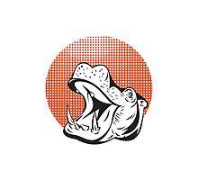 Hippopotamus Head Retro  by patrimonio