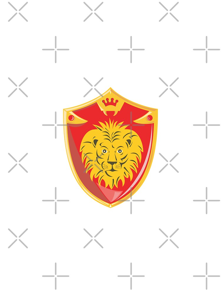 Lion Crown Shield Retro  by patrimonio