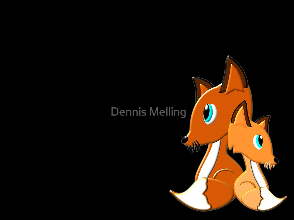 Foxes on Black by Dennis Melling