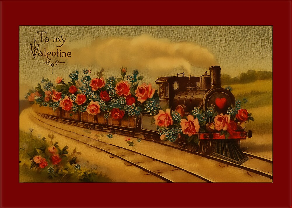 Valentine-Train with Roses by Yesteryears