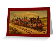 Valentine-Train with Roses Greeting Card