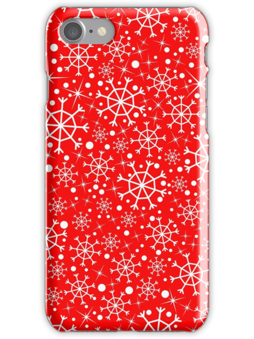 Red pattern with snowflakes by Marishkayu