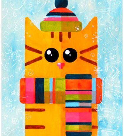 Funny winter cat Sticker
