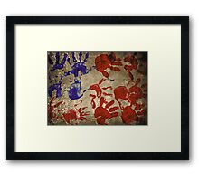 american flag handprints 2 Framed Print