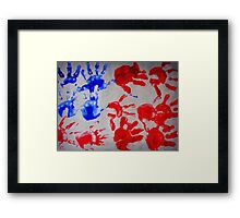 american flag handprints 3 Framed Print