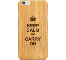 Keep Calm and Carry On in Bamboo Look iPhone Case/Skin