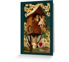 Valentine-Cupids in Birdhouse Greeting Card