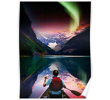 canoeing in banff under northern light Poster