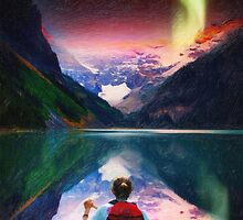 canoeing in banff under northern light art3 by Adam Asar