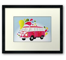 Colorful retro van with splashes Framed Print