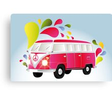 Colorful retro van with splashes Canvas Print