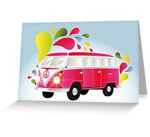 Colorful retro van with splashes Greeting Card