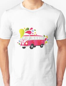 Colorful retro van with splashes T-Shirt
