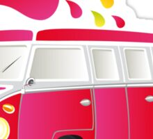Colorful retro van with splashes Sticker