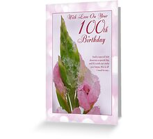 100th Birthday Card With Pink Flower And Ice Crystals Greeting Card