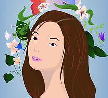 Brunette with flowers by Marishkayu