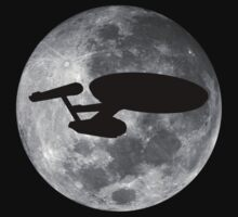 USS Enterprise against the Moon by HappenstanceUK