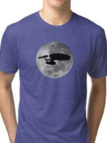 USS Enterprise against the Moon Tri-blend T-Shirt