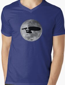 USS Enterprise against the Moon Mens V-Neck T-Shirt