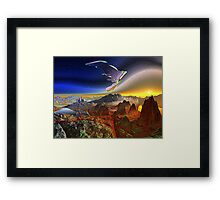 Spacecraft over Alien World Framed Print